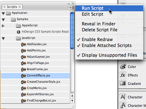 InDesign: Using Scripts in InDesign, different corner effects