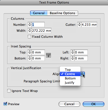 Indesign vertical justification and end of story marker for Text align top