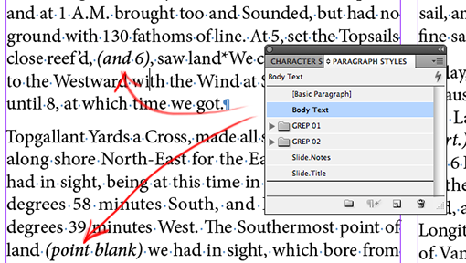 InDesign: GREP Styles (1) Setting text between parentheses