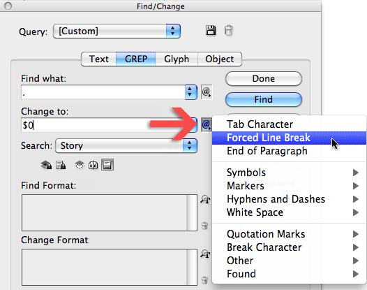 Find/Change dialog with Change to metacharacter Forced Line Break selected.