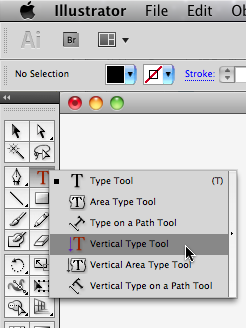 screenshot displaying the various type tools in Illustrator
