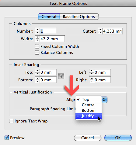 Text Frame Options dialog, with Vertical Justification setting change to Align Justified.