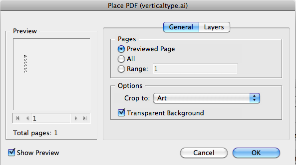 Place PDF import options in InDesign, with Crop to option set to Art