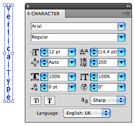 screenshot of vertical type on the page and character panel.