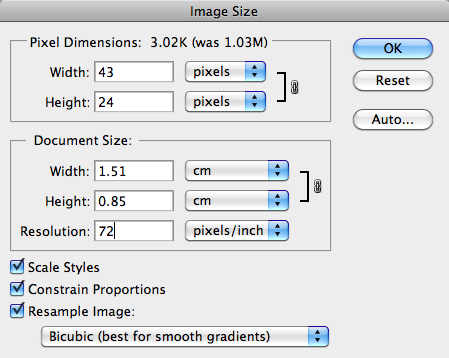 Image Size dialog box in Photoshop after changing the resolution.