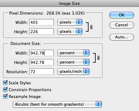 Image Size dialog in Photoshop, upscaling the image.