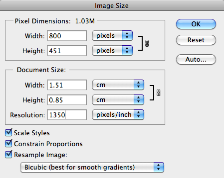 Image Size dialog in Photoshop, displaying the original image size.