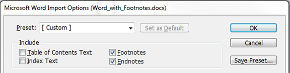 Footnotes and endnotes options selected=