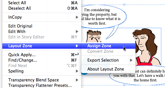 Edit, Layout Zone, Assign Zone