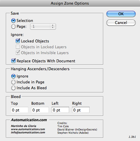 Assign Zone Options dialog