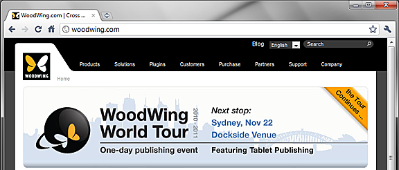 WoodWing World Tour website banner