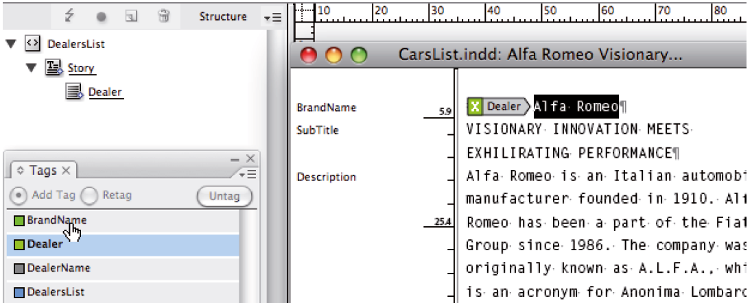 Figure 7. Applying a tag to selected