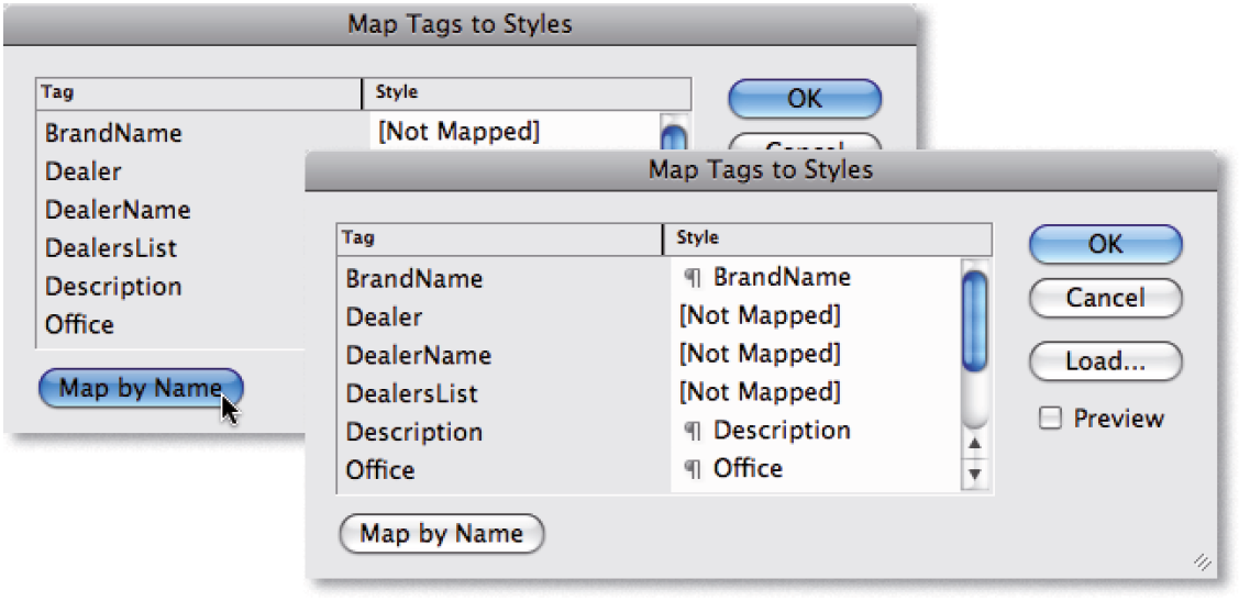 Figure9. XML tags mapped to similarly named  paragraph styles.