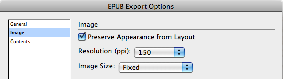 EPUB Export Options