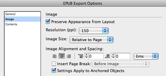 EPUB Export Options dialog