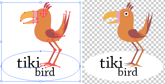 Logo artwork Illustrator (left) and with transparency displayed (right)