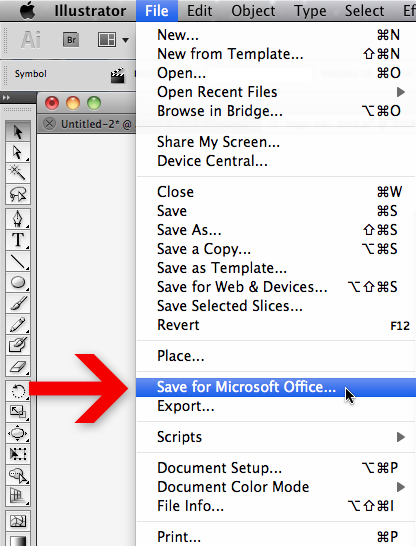 File menu in Adobe Illustrator with arrow pointing at Save for Microsoft Office command.