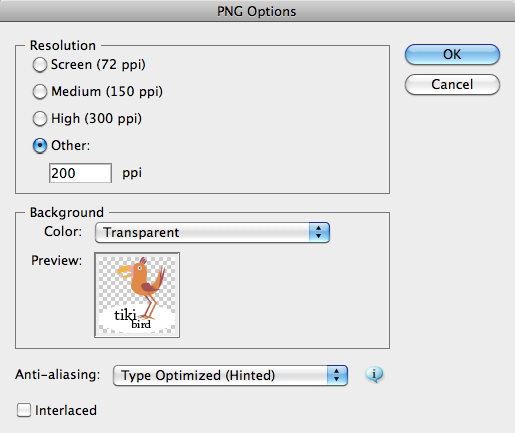 PNG Options dialog