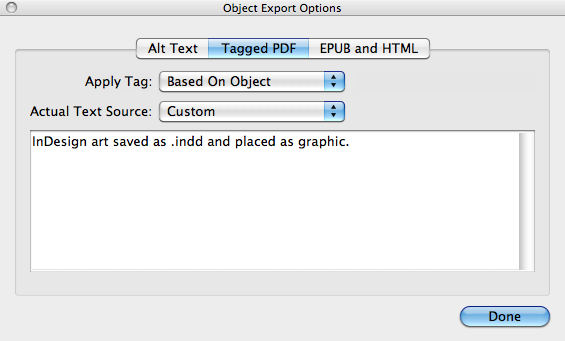 Object Export Options dialog in InDesign, with Tagged PDF settings displayed.