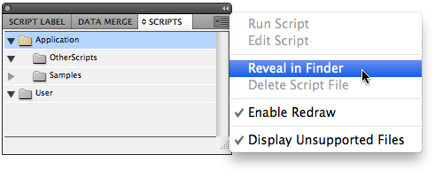 Scripts panel menu. Reveal in Finder selected
