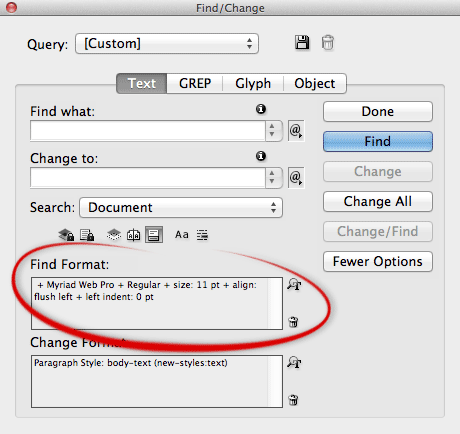 Find/Change dialog InDesign
