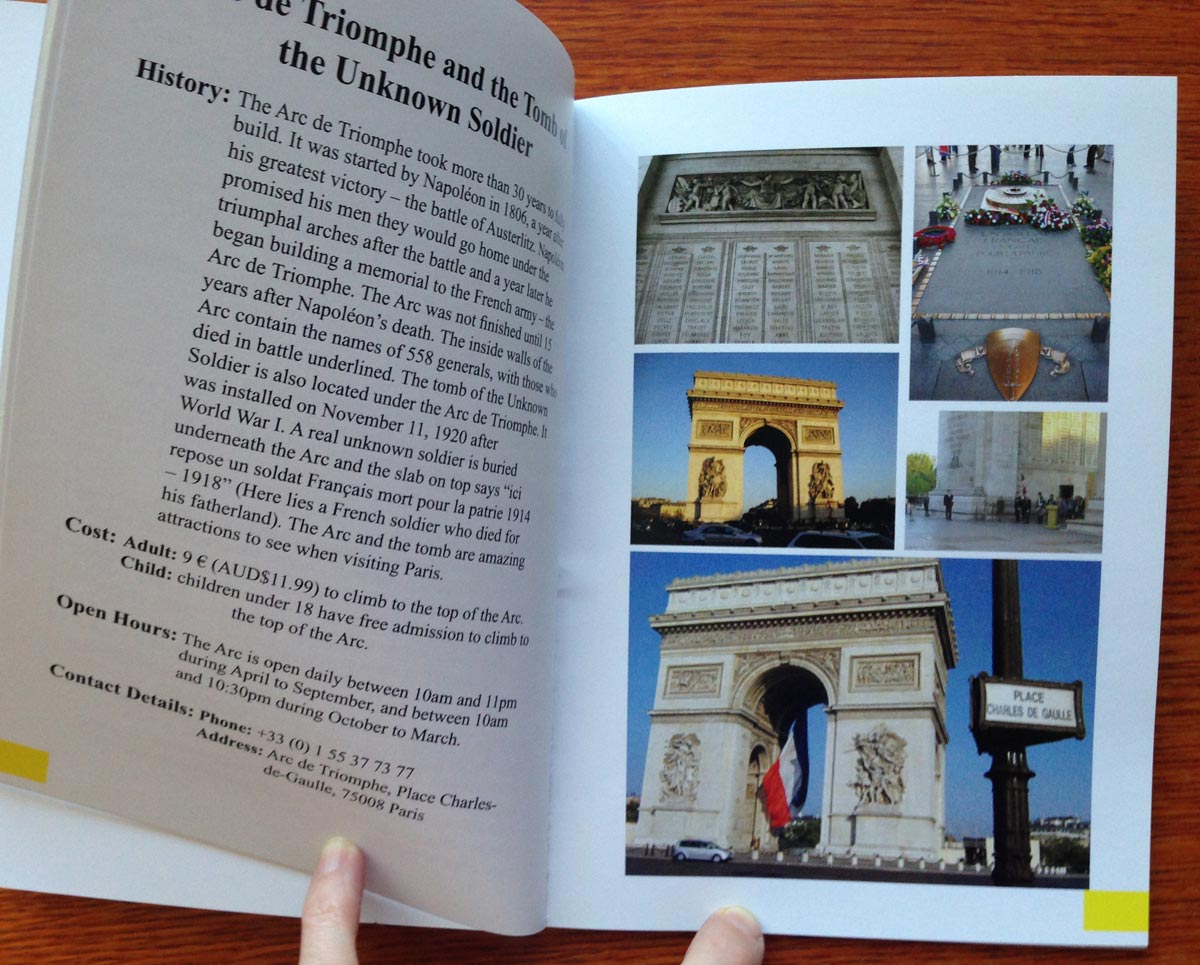 little booklet about Paris with photo page and text