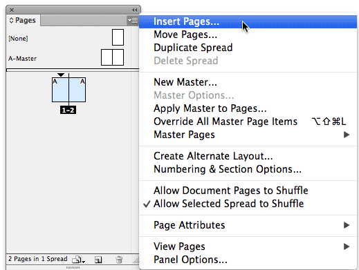 Screenshot of Pages panel with pages selected and pages panel menu open
