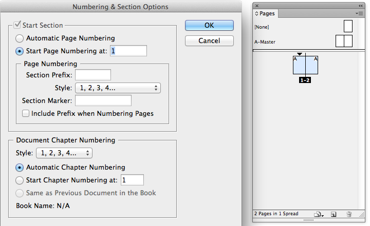 Screenshot of Numbering & Sections Options dialog and result in Pages panel