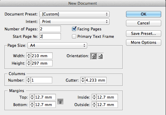 Screenshot of New Document dialog box with settings as per instructions in blog-post