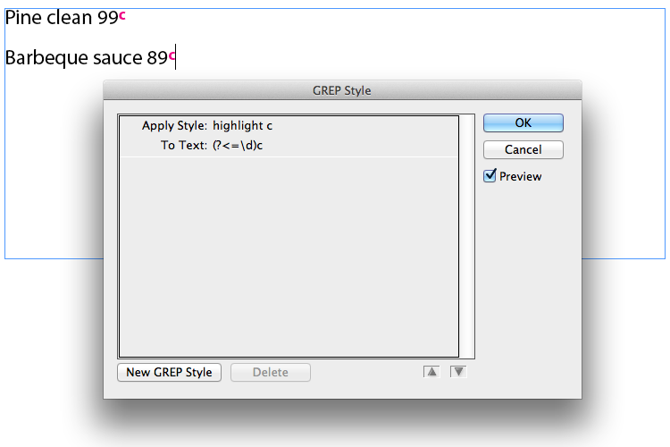GREP style dialog, with finished GREP and text example
