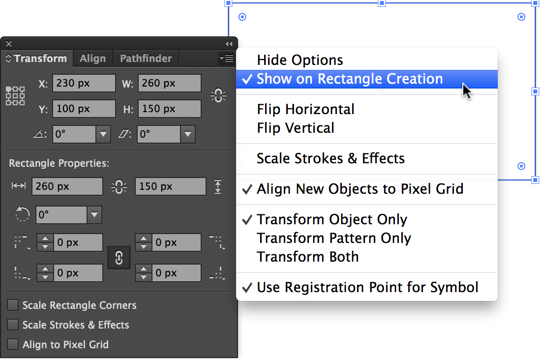 Transform Panel menu, with Show on Rectangle Creation selected.