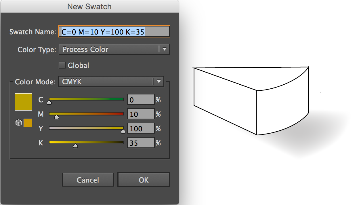 New Swatch dialog box, CMYK settings displayed