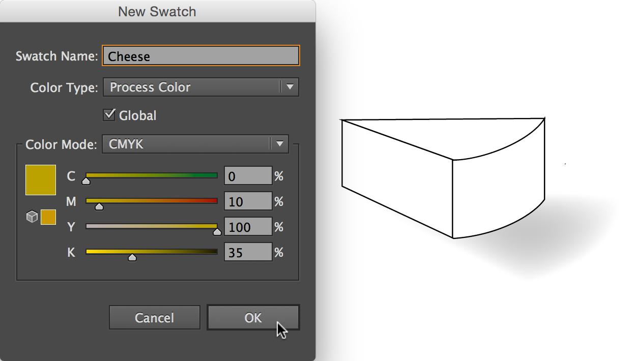 New Swatch dialog box, CMYK settings displayed, colour named and Global option selected.