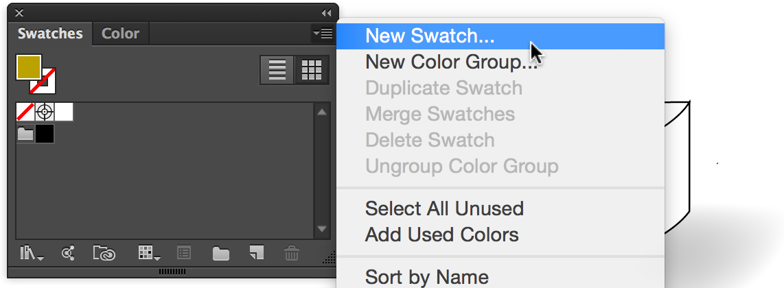 Swatches panel with New Swatch selected in panel menu
